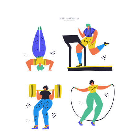 Fitness training hand drawn color illustration set. Women in sportswear cartoon characters. Headstand, treadmill jogging, barbell squat, jumping rope. Healthy lifestyle. Gym workout drawing pack