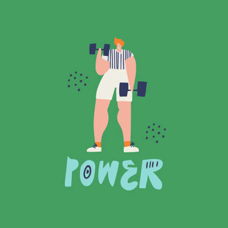 Training with dumbbells hand drawn illustration. Redhead person in sportswear cartoon character. Motivating vector drawing on green background. Power vector lettering. Banner, poster flat design Ilustrace