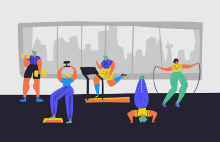 Working out in gym hand drawn vector illustration. People in sportive clothes cartoon characters. Sport club, training hall. Dumbbell lifting, treadmill jogging, headstand, jumping rope Illustration