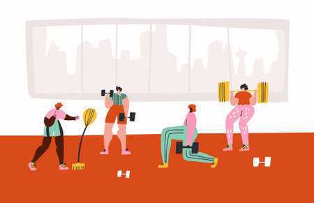 Workout in gym hand drawn vector illustration. People in sportive clothing cartoon characters. Fitness club, training hall. Boxing with punching bag, dumbbells lifting, barbell squats