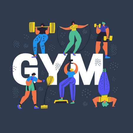 Gym, fitness club hand drawn word concept banner. Tiny people in sportswear cartoon characters. Athletics, training exercises flat color vector illustration. Workout poster, banner design Illustration