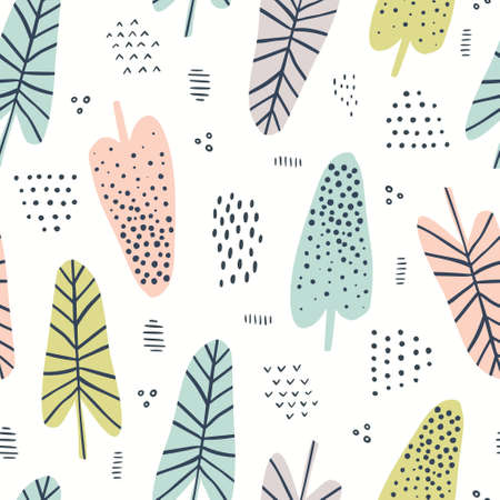 Banana leaves hand drawn vector seamless pattern. Tropical, exotic plant drawing. Scandinavian style backdrop. Multicolor spotty leaves. Botanical wrapping paper, textile, background flat design