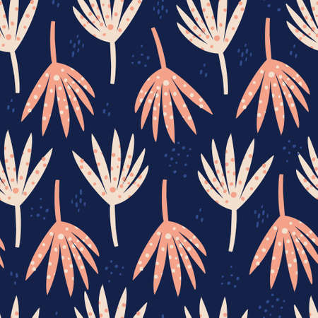 Palm red leaves hand drawn seamless pattern. Abstract botanical drawing on blue background. Naive backdrop. Exotic, tropical split and spotty leaves. Botanical wrapping paper, textile flat design