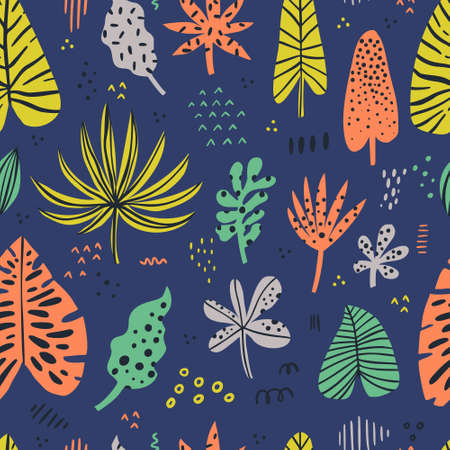 Hawaii color hand drawn seamless pattern. Tropical, exotic plant. Scandinavian style backdrop. Stylized spotty banana, palm, monstera, aralia leaf on blue background. Wrapping paper, textile design