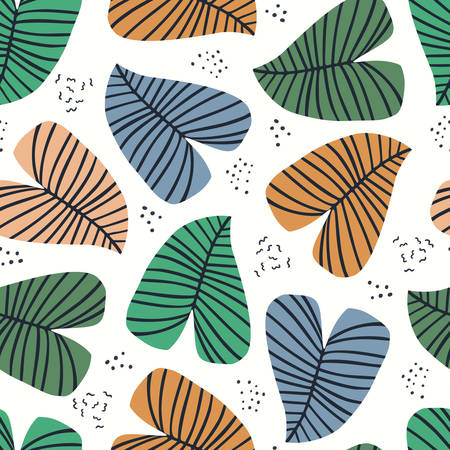 Banana leaves flat seamless vector pattern. Tropical, exotic plant hand drawn texture. Backdrop with houseplants. Multicolor stylized leaves. Botanical wrapping paper, fabric, background design