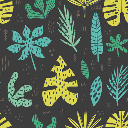 Hawaii hand drawn seamless pattern. Tropical plant drawing. Scandinavian style backdrop. Stylized banana, palm, monstera, aralia leaves on black background. Botanical wrapping paper, textile design