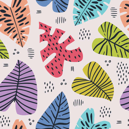 Banana and monstera leaves hand drawn seamless pattern. Tropical, exotic plant drawing. Backdrop with houseplants. Multicolor stylized leaves. Botanical wrapping paper, textile, background flat design