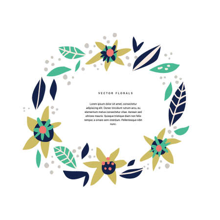 Botanic text circle hand drawn vector template. Decorative round border with vector blossom, bloom. Wreath, foliage cartoon illustration with copyspace in floral frame. Postcard, greeting card design