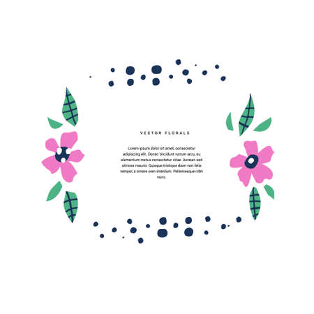 Botanical text circle flat color vector template. Decorative frame with bloom, flowering. Blossom, foliage cartoon illustration with copyspace in floral border. Invitation, greeting card design
