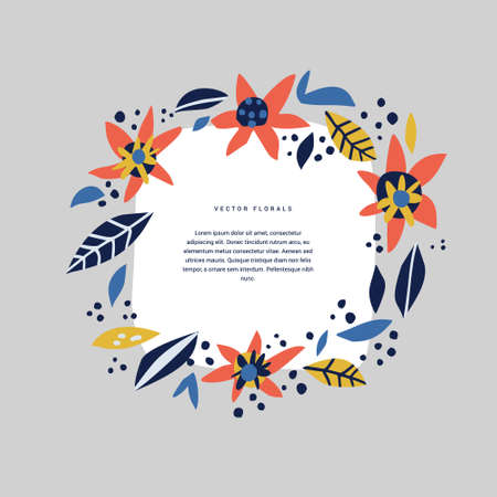 Botanical text circle hand drawn vector template. Decorative round frame with bloom, blossom. Wreath, foliage cartoon illustration with copyspace in floral border. Postcard, invitation design 向量圖像