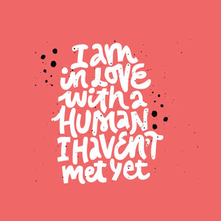 Pregnancy phrase inscription on red background. I am in love with human I havent met yet flat lettering. Maternity quote sketch drawing. Motherhood poster, banner, t shirt, typography design