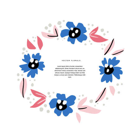 Floral wedding invitation hand drawn template. Decorative round border with abstract blossom, bloom. Inflorescence cartoon illustration with copyspace in circle frame. Postcard, greeting card design