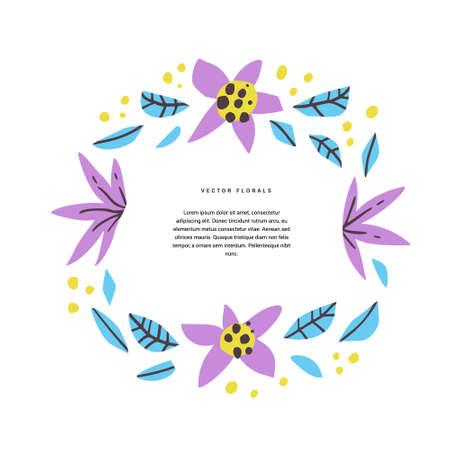 Floral text circle hand drawn vector layout. Decorative round border with vector blossom, bloom. Foliage, wreath cartoon illustration with copyspace in flowers frame. Postcard, greeting card design
