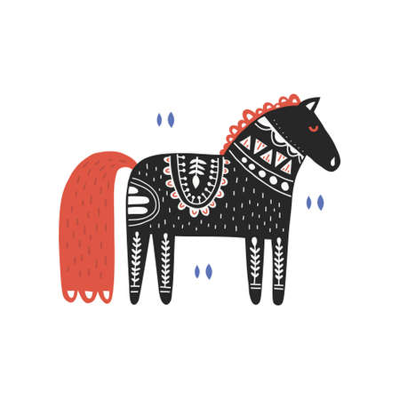 Horse with folk decoration flat illustration. Cute pony with Danish botanic ornaments. Black stallion ethnic sketch. Children clothes, textile animalistic print, postcard design element