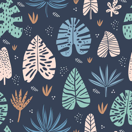 Tropical hand drawn vector seamless pattern. Exotic plant drawing. Scandinavian style backdrop. Stylized banana, palm, monstera, aralia leaves. Botanical wrapping paper, textile, background design