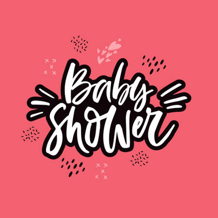 Baby shower pink hand drawn lettering interesting quote