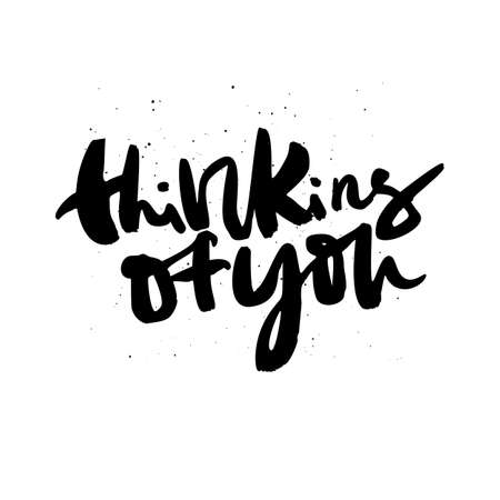 Thinking of you handdrawn lettering interesting quote