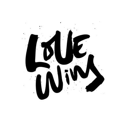 Love wins quote, phrase ink brush calligraphy