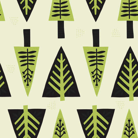 Spruces in nordic style handdrawn