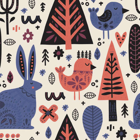 Forest animals in nordic style