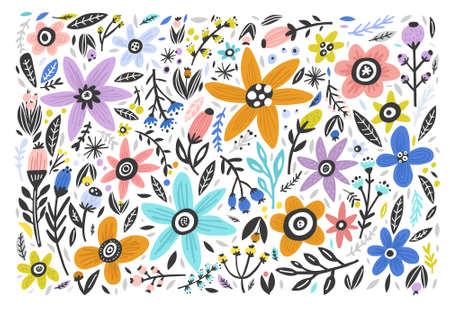 Floral hand drawn color background