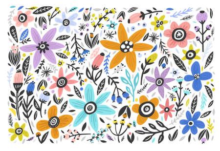 Fond de couleur floral dessinés à la main Vecteurs