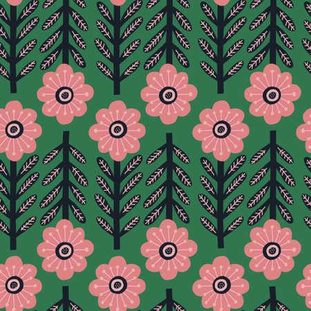 Flowers in nordic style handdrawn Çizim