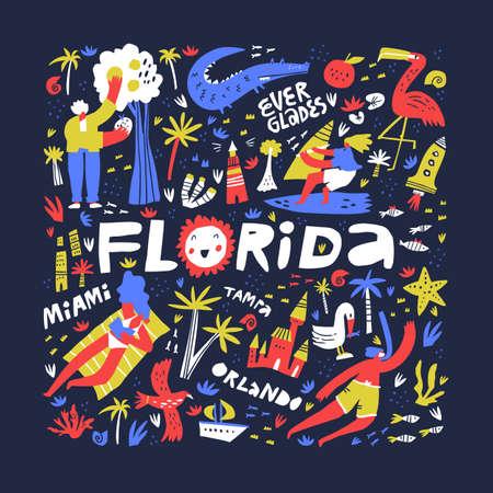 Florida summer rest ideas flat  イラスト・ベクター素材