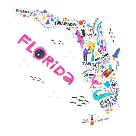 Vue de dessus de la carte de l'état de Floride Vecteurs