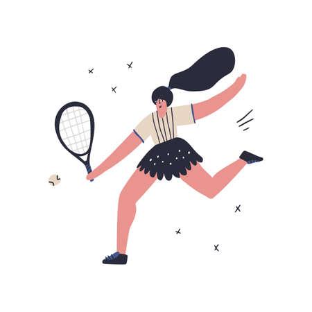 Tennis player hitting ball flat