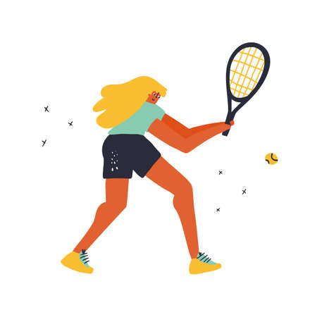 Girl playing tennis doodle style vector illustration. Female player hitting two-handed forehand cartoon character. Athlete in sportive outfit. Active lifestyle concept. T shirt print design