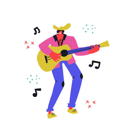 Country singer with guitar flat  イラスト・ベクター素材