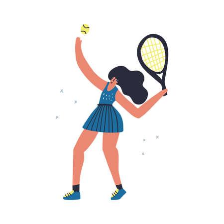 Tennis player serving ball hand Ilustracja