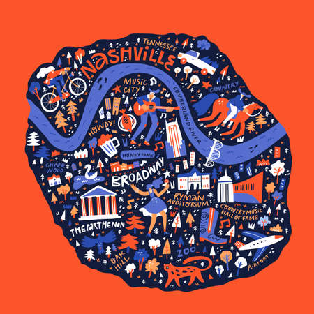 Nashville cultural map hand drawn vector illustration. US journey doodle map isolated on red background. Nashville traditional symbols and landmarks cartoon drawings. American tourism poster design 일러스트