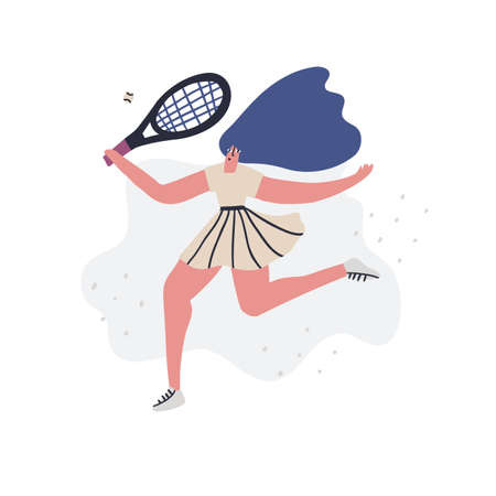 Tennis player practicing flat hand  イラスト・ベクター素材