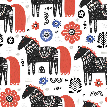 Horses in nordic style handdrawn
