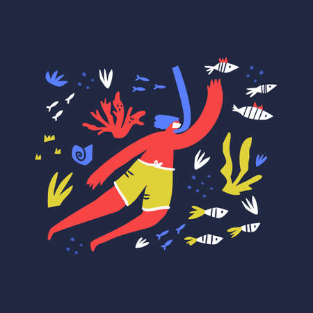 Snorkeling and rest idea flat vector illustration. Ocean flora. Man swimming underwater cartoon character. Marine inhabitants and seaweed simple composition. Summer leisure concept