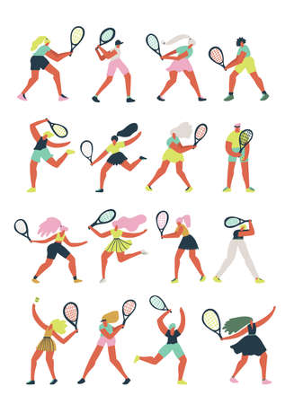 Female athletes playing tennis cartoon Illustration