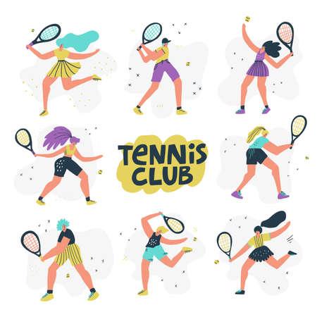 Tennis club hand drawn vector Ilustrace