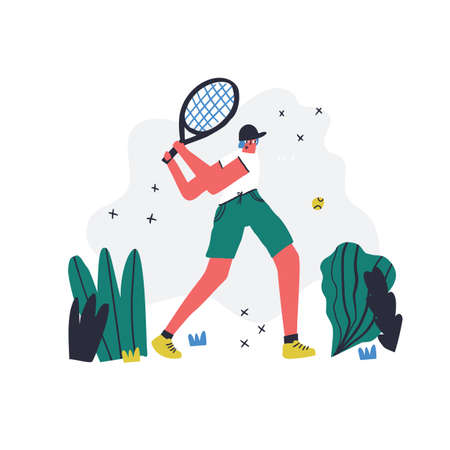 Man play tennis outdoor flat vector illustration. Sportsman with racquet. Male athlete, sport game professional player cartoon character. Backhand shot. Young hand drawn guy isolated on white 일러스트
