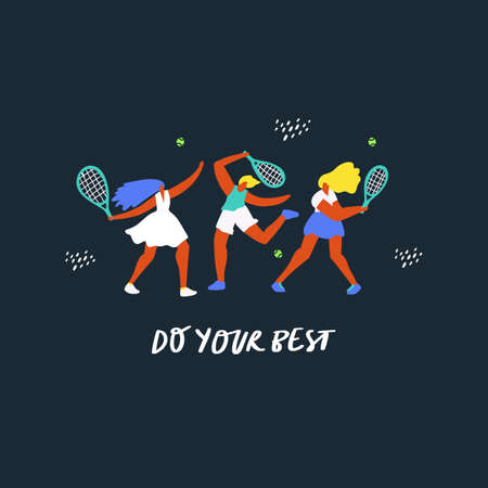 Tennis players training together flat vector illustration. Women with racquet hitting ball. Sportswomen characters on blue background. Do your best lettering. Physical activity, exercising