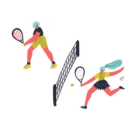 Women tennis game hand drawn vector illustration. Girl with racquet hitting ball over net. Female flat characters playing tennis on court. Racket sport professional training, tournament