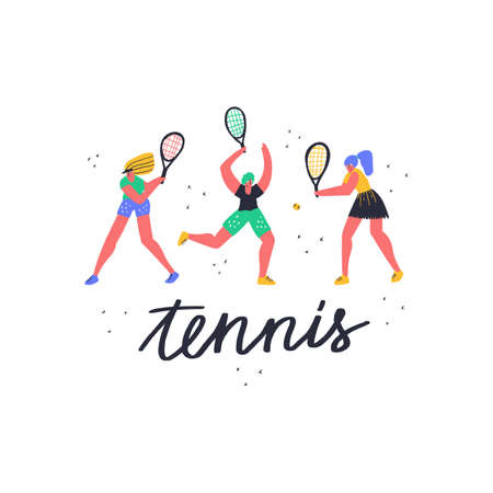 Girls play tennis together flat vector illustration. Women with racquet hitting ball. Female athletes in sportswear, sportswomen training characters. Racket sport game tournament, physical activity
