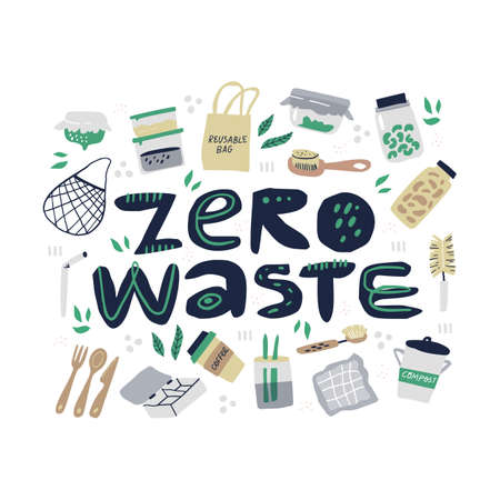 Zero waste items handdrawn illustration with typography. Reusable containers isolated cliparts set on white background. Plastic free and eco friendly products design elements pack on white