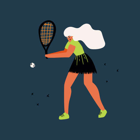 Tennis player in action hand drawn illustration. Professional female athlete hitting two-handed forehand cartoon character. Sportswoman in stylish outfit. Competition concept. T shirt print design
