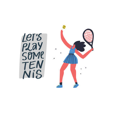 Tennis player serving ball hand drawn illustration. Sportswoman with handwritten lettering composition. Athlete holding racket flat character. Young cartoon girl in sportswear isolated on white Ilustrace