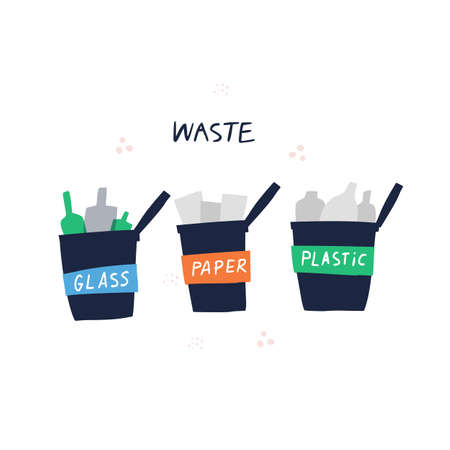Waste sorting bins hand drawn vector illustration. Cans for glass, paper and plastic material isolated clipart on white background. Trash separation concept. Rubbish recycle, reuse and utilization Banque d'images - 136124778
