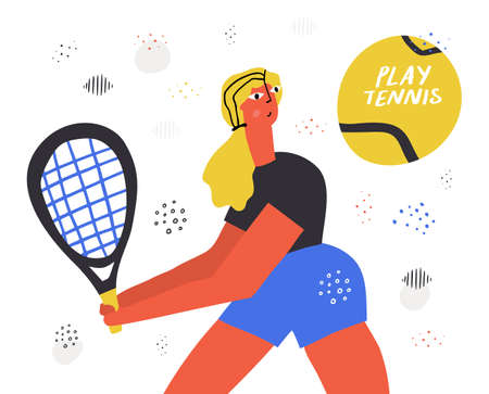 Tennis player with racket hand drawn illustration. Girl flat character hitting ball. Sportswoman with lettering composition. Backhand shot technique. Professional athlete playing racquet sport