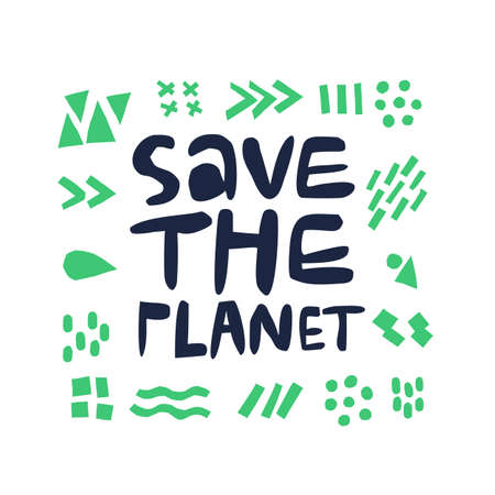 Save planet hand drawn simple vector lettering. Sustainable and green lifestyle. Typography with dots and lines doodle symbols. Earth Day, environment and ecology protect concept illustration