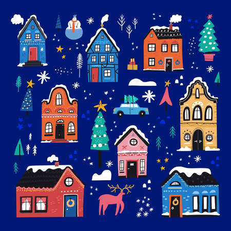 Cute Christmas houses flat vector illustrations set. Old estates, townhouses with Christmas tree, wreath, snowman. Traditional winter holidays urban decorations. Cozy wintertime cottages